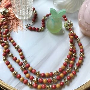 Vintage multi strand gold tone beads necklace